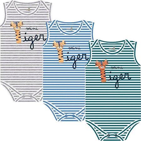 Kit Body Regata Bebê Unissex Mini Tiger Listras Kiko Baby