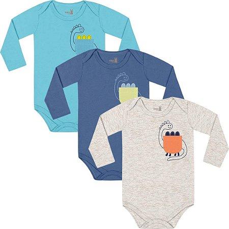 Kit Body Manga Longa Bebê Unissex Little Dino Tricolor Kiko Baby