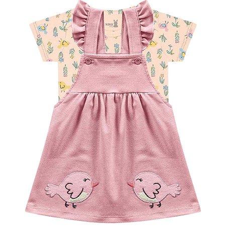 Conjunto Vestido Bebê Salopete Little Birds Rosa Kiko Baby