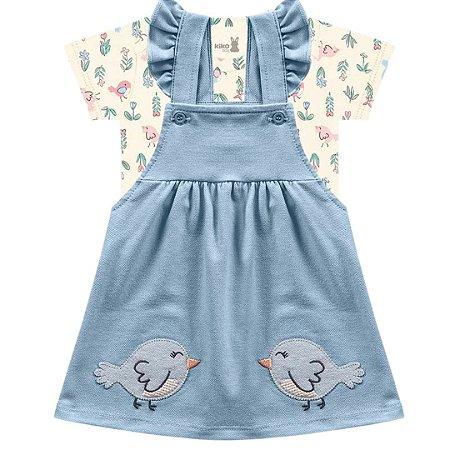 Conjunto Vestido Bebê Salopete Little Birds Azul Claro Kiko Baby