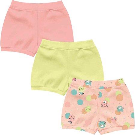 Kit Shorts Cobre Fraldas Bebê Menina Frutinhas Salmão Kiko Baby