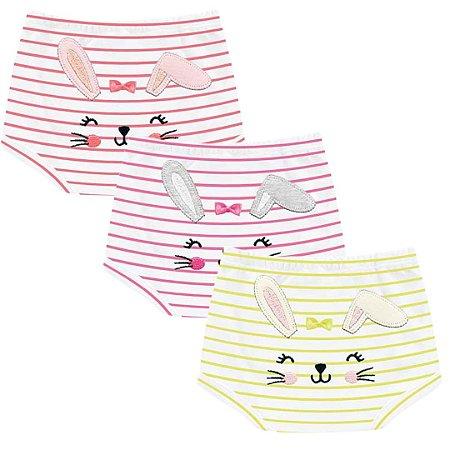 Kit Shorts Cobre Fraldas Bebê Menina Coelhinhos Listras Kiko Baby