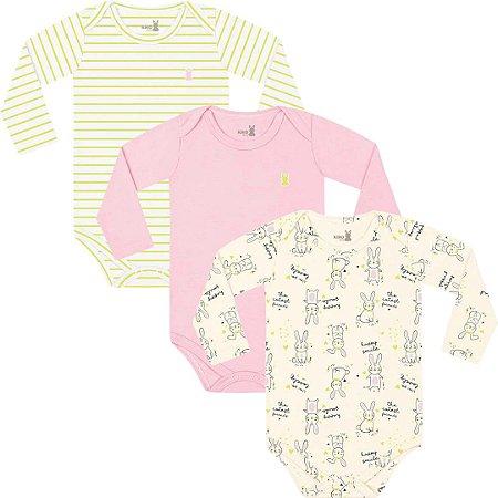 Kit Body Manga Longa Bebê Menina Coelhinhos Amarelo Kiko Baby