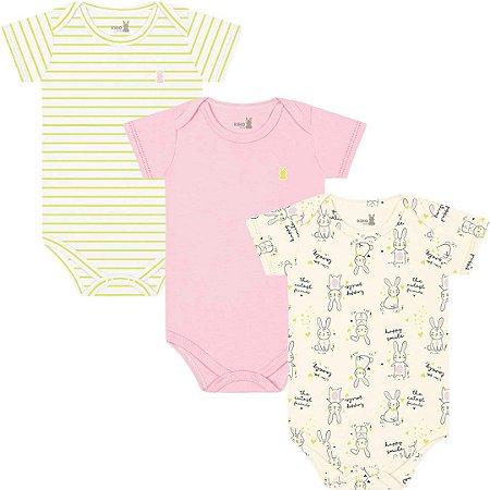 Kit Body Manga Curta Bebê Menina Coelhinhos Amarelo Kiko Baby