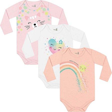Kit Body Manga Longa Bebê Menina Iris Frutinhas Bailarina Tricolor Kiko Baby