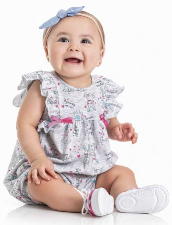 Macacão Curto Romper Bebê Menina Coelhinhos Cinza Kiko Baby