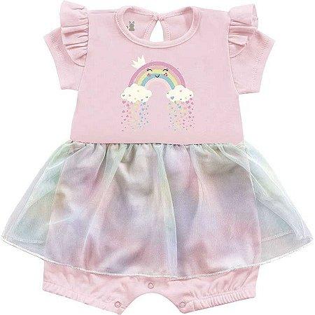 Macacão Curto Romper Bebê Menina Frutinhas Bailarina Rosa Kiko Baby