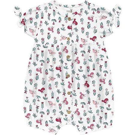 Macacão Curto Romper Bebê Menina Little Birds Branco Kiko Baby