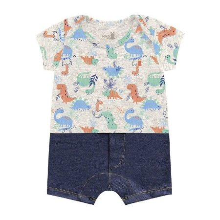 Macacão Curto Romper Bebê Little Dino Cinza Mescla Kiko Baby