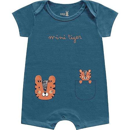 Macacão Curto Romper Bebê Mini Tiger Liso Azul Intenso Kiko Baby