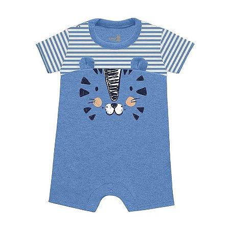 Macacão Curto Romper Bebê Mini Tiger Azul Claro Kiko Baby