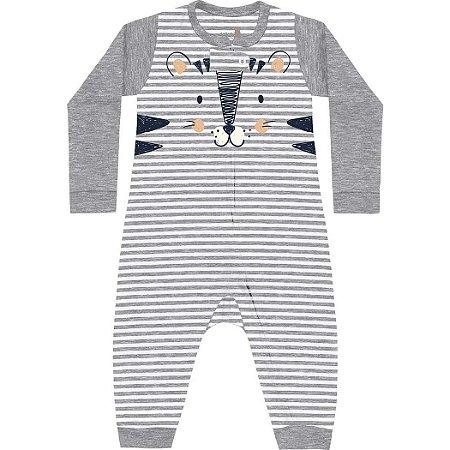 Macacão Bebê Suedine Mini Tiger Cinza Mescla Kiko Baby
