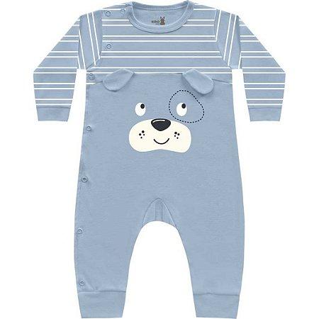 Macacão Bebê Suedine Cachorrinho Azul Claro Kiko Baby