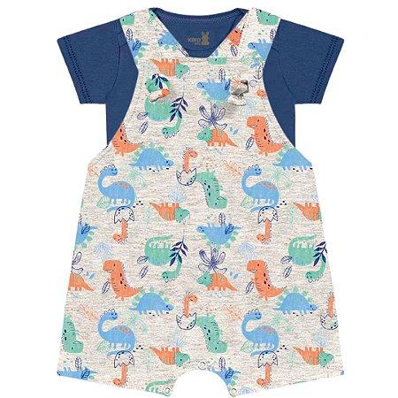 Conjunto Macacão Jardineira Bebê Little Dino Cinza Kiko Baby