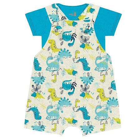 Conjunto Macacão Jardineira Bebê Little Dino Areia Kiko Baby
