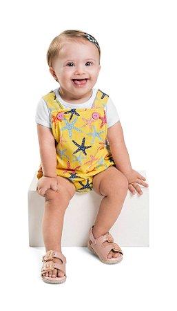 Macacão Jardineira Bebê Menina Estrela do Mar Amarelo