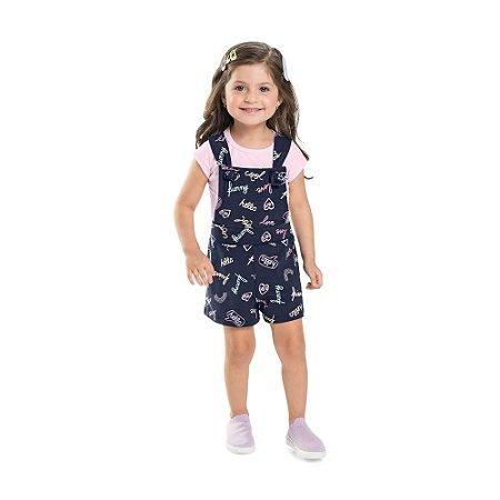 Conjunto Jardineira Infantil Camiseta Menina Hello Cool Marinho