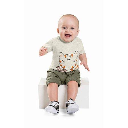 Conjunto Bebê Camiseta Bermuda Mini Tiger Roar Verde