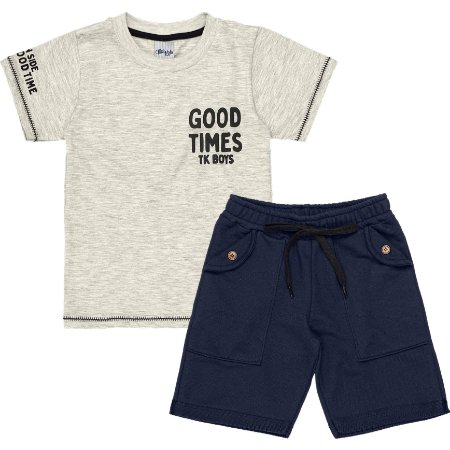 Conjunto Infantil Menino Camiseta Bermuda Good Time Mescla