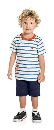 Conjunto Infantil Menino Camiseta Bermuda Listras Azul