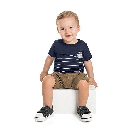 Conjunto Bebê Menino Camiseta Bermuda Koalinha Marinho