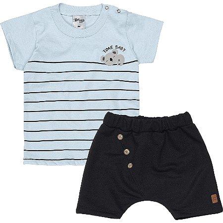 Conjunto Bebê Menino Camiseta Bermuda Koalinha Azul Claro