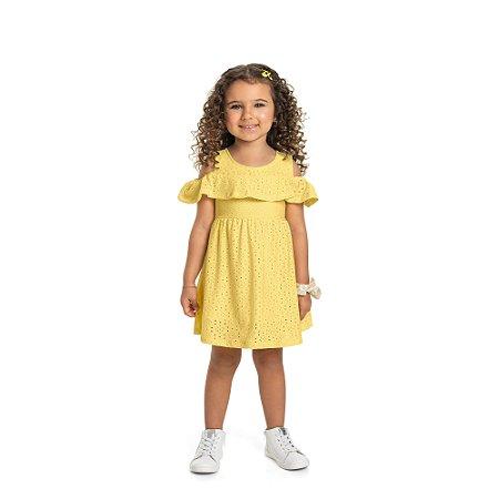 Vestido Infantil Laise Babadinhos Amarelo