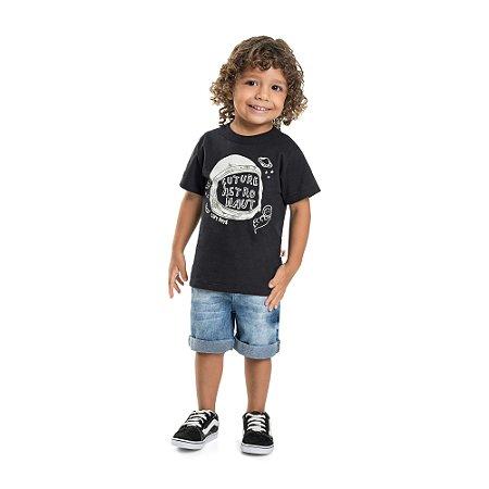 Camiseta Infantil Menino Astronauta Preto