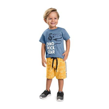 Camiseta Infantil Menino Dino Rock Star Azul