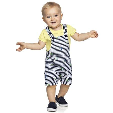 Macacão Jardineira Bebê Infantil Barquinhos Amarelo