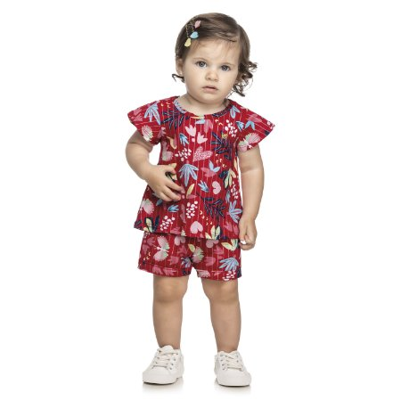 Conjunto Curto Bebê Infantil Flores Birds Vermelho