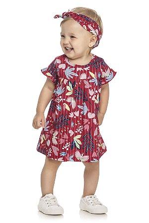 Vestido Infantil Bebê Menina Flores Faixa Birds Vermelho