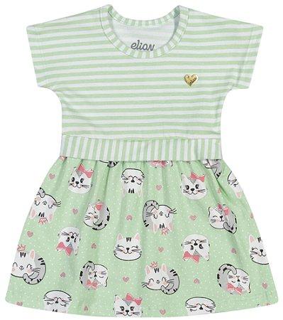 Vestido Bebê Infantil Menina Little Gatitta Verde