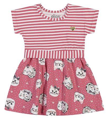 Vestido Bebê Infantil Menina Little Gatitta Rosa