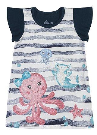 Vestido Bebê Infantil Menina Fundo do Mar Marinho