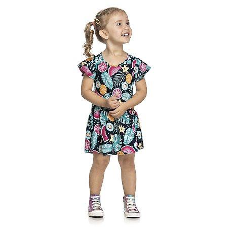 Vestido Infantil Menina Frutinhas Marinho