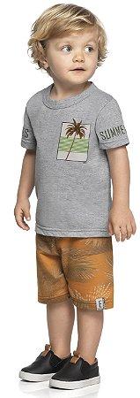 Conjunto Infantil Menino Camiseta Bermuda Palms Summer Cinza