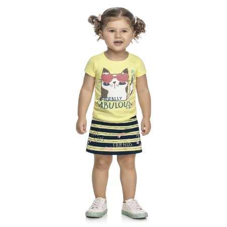 Conjunto Infantil Menina Camiseta Saia Gatitta Listras Amarelo