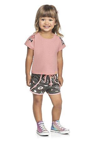 Conjunto Infantil Menina Camiseta Shorts Love Rock Rosa