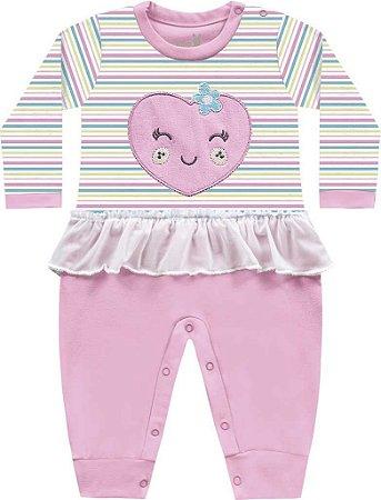 Macacão Bebê Menina Coração Frutinhas Bailarina Rosa Kiko Baby