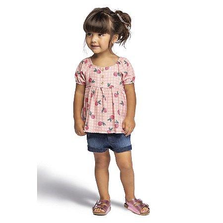 Blusa Bata Infantil Menina Frutinhas Siciliano Rosa Colorittá