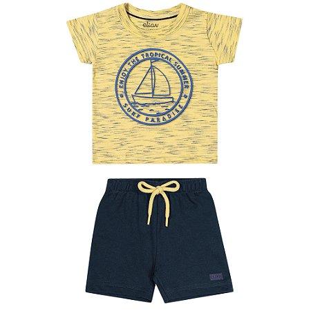 Conjunto Bebê Infantil Menino Camiseta Bermuda Barquinhos Amarelo
