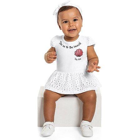 Body Vestido Bebê Menina Faixa Beach Birds Branco