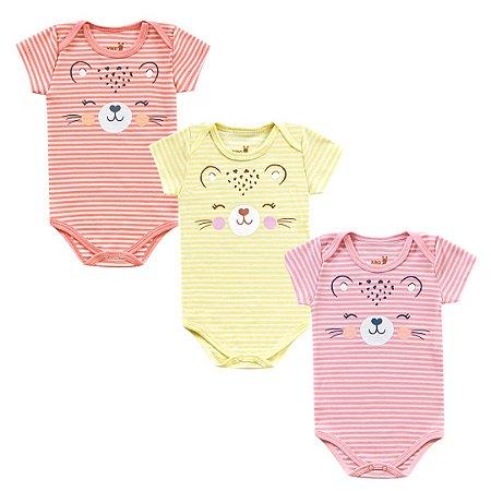 Kit Body Bebê Menina Manga Curta Tigrinha Listrada Kiko Baby