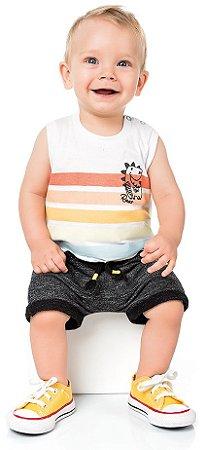 Camiseta Regata Menino Dino Listras Branca Kiko e Kika