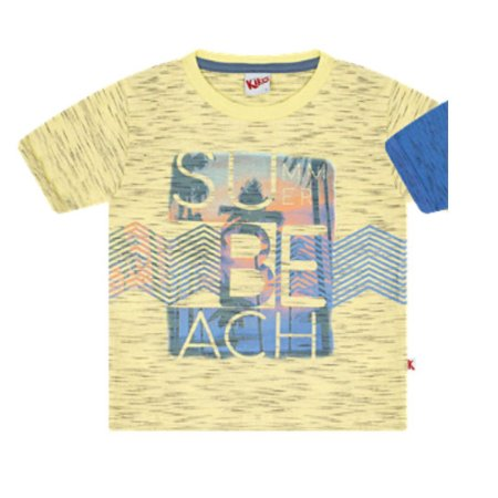 Camiseta Infantil Manga Curta Summer Beach Amarela Kiko e Kika