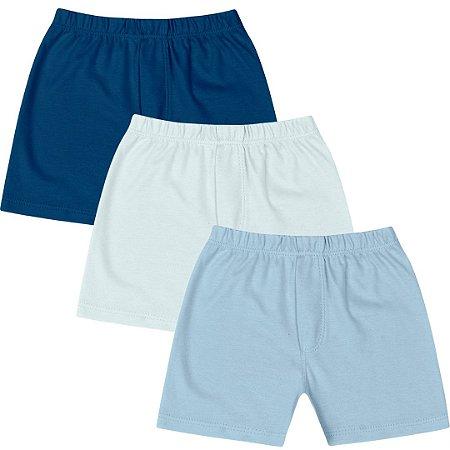Kit Shorts Cobre Fraldas Liso Básico Menino Azul Kiko Baby