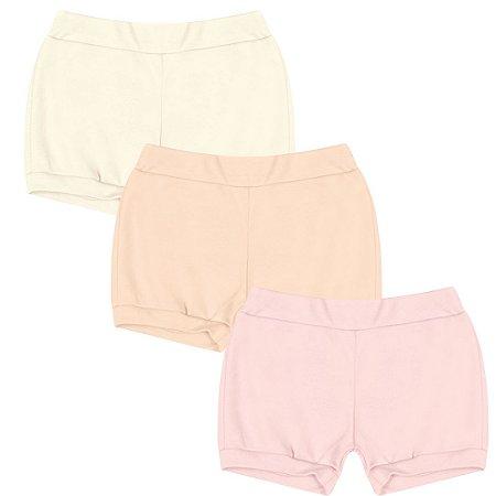 Kit Shorts Cobre Fraldas Liso Menina Salmão Kiko Baby