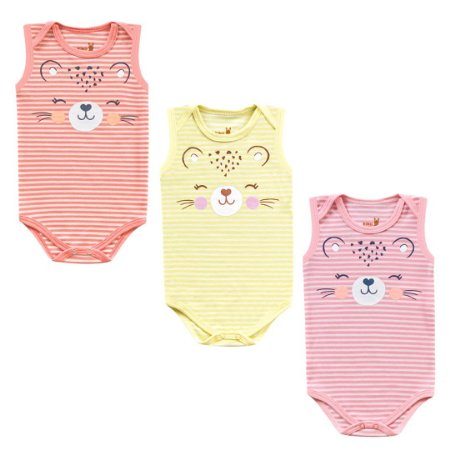 Kit Body Bebê Regata Menina Tigrinha Listrada Kiko Baby