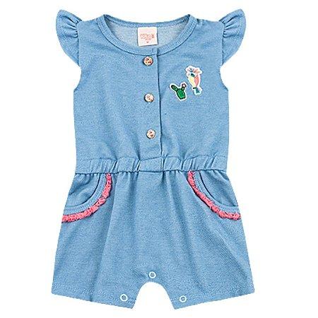 Macacão Curto Bebê Romper Path Jeans Az Claro Iris Kiko Baby